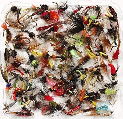 Lakeland, assortimento di mosche per pesca alla trota, umide, secche, ninfe e buzzer, dimensioni 8, 10, 12, 14, 16 o 18, quantit 10, 25, 50, 100, (25x Flies, Mixed Sizes 10-14)