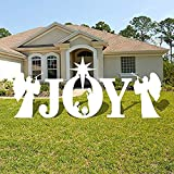 VictoryStore Yard Decorations: Joy Nativity Scene Christmas Lawn Display and Yard Cards,10 EZ Stakes (White)
