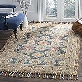 Safavieh Aspen Collection APN110A Handmade Boho Braided Tassel Wool Area Rug, 5' x 8', Grey / Navy