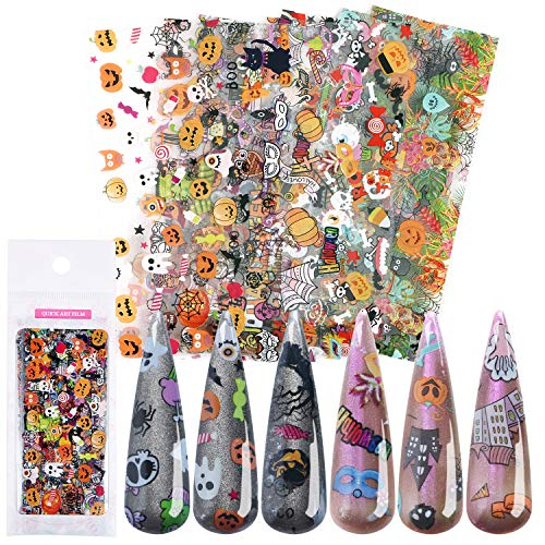 Halloween Nail Foil Transfer Sticker,UNIME 10 Sheets Halloween Nail Art Foil Transfer Stickers Tips Wraps Adhesive Tape Glitters Acrylic DIY Nail Decoration Manicure (Halloween 10 Sheets)