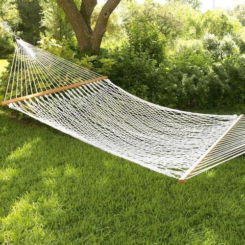 Inditradition Rope Hammock with Wooden Spreader Bars | for Single Person, 30 Inches Width (White)