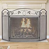 Amagabeli Indoor Fireplace Screen 3 Panel Pewter Wrought Iron Large Screen Outdoor Metal Decorative Mesh Cover Solid Fire Place Fence Leaf Design Steel Spark Guard Fireplace Panels