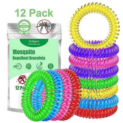 Entligent [Lot de 12] Bracelet Anti-Moustique, Bracelets Anti-Moustiques...