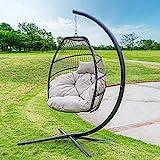 Barton Outdoor Hanging Egg Chair Swing Lounge Chair Soft Deep Cushion Backyard Relax, Beige