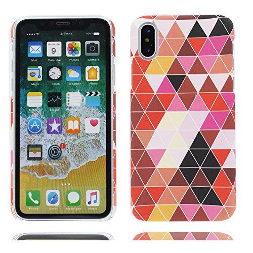 EarthNanLiuPowerTu iPhone X Custodia, iPhone X Case, Rosso Marmo Custodia della Pelle Design Chiaro respingente di TPU Cover di Gomma Silicone Copertura per Normal 5.8 Pollici iPhone X