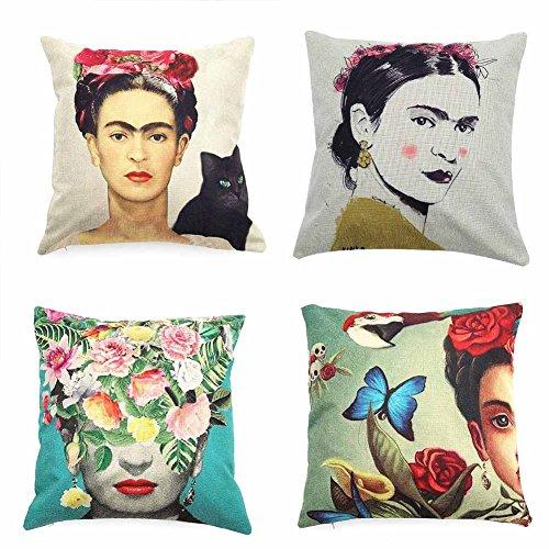 Yovvin 4 fundas de almohada de lino y algodón estilo mexicano para decoración del coche, 45 x 45 cm