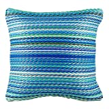 Fab Habitat Outdoor Accent Pillow, UV & Weather Resistant, Recycled Plastic - Cancun - Turquoise & Moss Green (20' x 20')