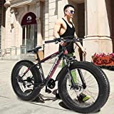 Cool Fat Tire Mountain Snow Bike Men Women Bicycle High-Tensile Aluminum Frame Outdoor Road Bike (Red)
