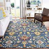 Safavieh Blossom Collection BLM402A Handmade Premium Wool Area Rug, 8' x 10', Navy / Multi