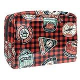 Bolsa de Aseo Hombres y Mujeres Icono de cuadrícula roja para Niñas Organizador de Bolso Cosmético Accesorios de Viaje Bolsa de Viaje Bolsa de Lavado 18.5x7.5x13cm
