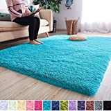 Noahas Super Soft Modern Shag Area Rugs Fluffy Living Room Carpet Comfy Bedroom Home Decorate Floor Kids Playing Mat 4 Feet by 5.3 Feet, Blue
