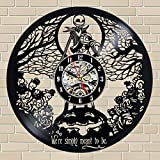 Kovides We were Simply Meant to Be NBC Wall Decals Gift Idea NBX The Nightmare Before Christmas Wall Clock Decorations for Kids Room Cartoon Nightmare Before Xmas Wall Art Retro Vinyl Record Clock