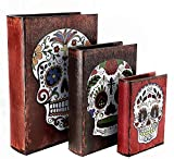 Bellaa 28090 Book Boxes Day of The Dead Sugar Skulls Faux Leather Wood Set of 3