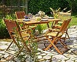 Deuba Sitzgruppe Sydney 4+1 Akazienholz 5-TLG Tisch klappbar Sitzgarnitur Holz Garten Möbel Set - 4