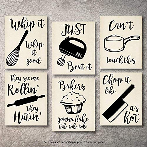 Home Decor Funny Gift 6 Kitchen Wall Art Prints Kitchenware with Sayings Unframed Farmhouse Home Office...