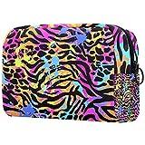 Kit de Maquillaje Neceser Makeup Bolso de Cosméticos Portable Organizador Maletín para Maquillaje Maleta de Makeup Profesional Leopardo Morado 18.5x7.5x13cm