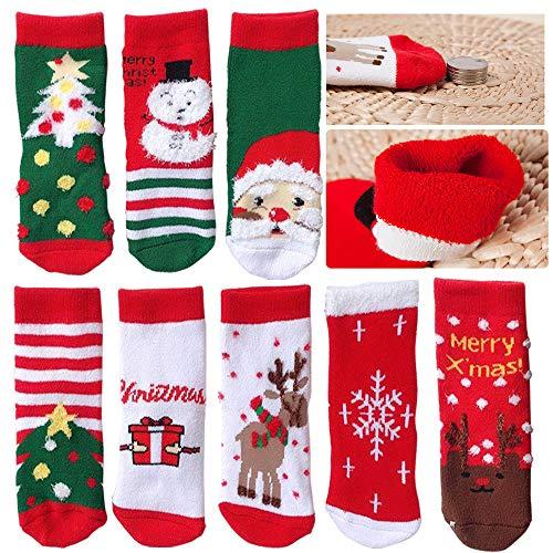 SPECOOL 4 Paia Calzini Natalizi per Bambini, Calzini Invernali Caldi in Maglia di Cotone per Festival Natalizi per Bambini Piccoli Ragazze Ragazzi Novit Regali di Natale (M 7-10)