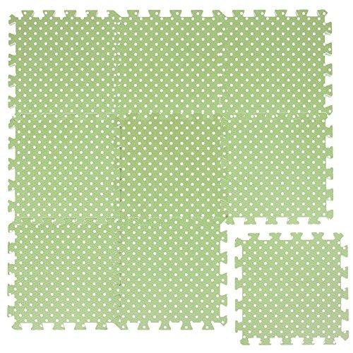 LittleTom Tappeto Puzzle per Bambini Morbido Eva Tappetino Gioco Verde Punti