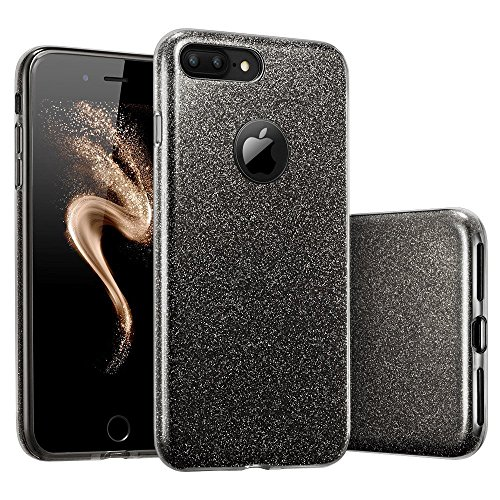 "Coovertify Funda Purpurina Brillante Negra iPhone 7 Plus, Carcasa Resistente de Gel Silicona con Brillo Negro para Apple iPhone 7 Plus (5,5"")"