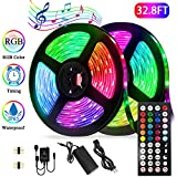 Led Strip Lights Kit,32.8ft Waterproof Flexible Tape Light,Color Changing 5050 RGB 300 LEDs Light Strip Rope Lights with Timing Function,for Party,Bar,Home Decoration,with IR Remote