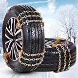 FUN-DRIVING Tire Chains,Snow Chains for Car,Light SUV of Tire Width 165-226mm (6.5-8.9 inch),Heavy Duty,Thickened,Adjustable,Durable (6 Pack)
