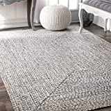 nuLOOM Lefebvre Braided Indoor/Outdoor Rug, 5' x 8', Light Grey