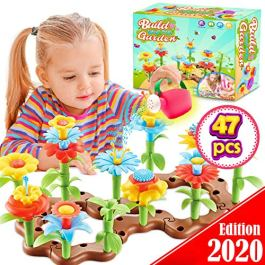 FunzBo Flower Garden Building Toys for Girls – STEM Toy Gardening Pretend Gift for Kids – Stacking Game for Toddlers playset – Educational Activity for Preschool Children Age 3 4 5 6 7 Year