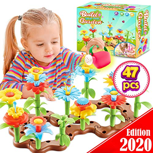 FunzBo-Flower-Garden-Building-Toys-for-Girls-STEM-Toy-Gardening-Pretend-Gift-for-Kids-Stacking-Game-for-Toddlers-playset-Educational-Activity-for-Preschool-Children-Age-3-4-5-6-7-Year