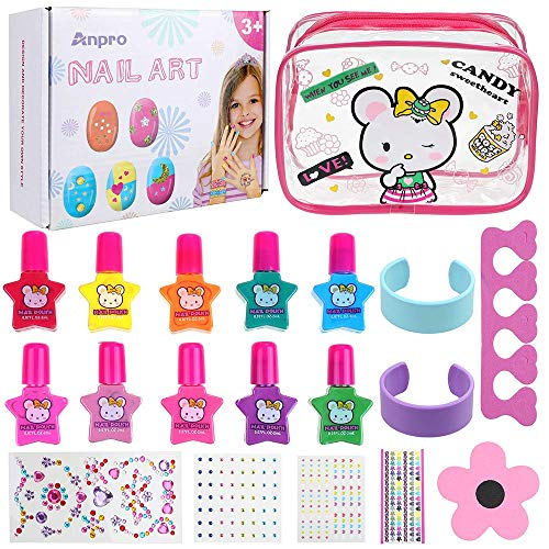 Anpro Kit de Manicura,Esmalte de Uñas Desgarrado para Niñas, Juguetes para Chicas, Regalo de Princesa para Niñas en Fiesta,Cumpleaños,Navidad