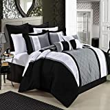 Chic Home Livingston 12-Piece Embroidered Comforter Set Complete Embroidery Pattern Bed in a Bag with Sheet Set Bed Skirt and Decorative Pillows Shams, King Black