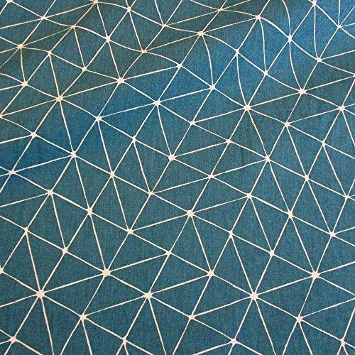 Stoff Meterware Baumwolle Origami Grafik petrol weiß Linien Japan pflegeleicht