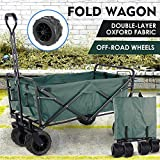 "Collapsible Outdoor Utility Wagon, Heavy Duty Folding Garden Portable Hand Cart, with 8"" All-Terrain Wheels and Drink Holder, Adjustable Handles and Double Fabric, for Beach, Garden, Sports (Green)"