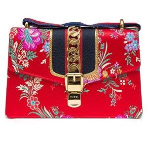Gucci Sylvie Red Jacquard Floral Tokyo Silk Small Bag Ribbon Leather Handbag New Box 25