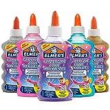 ELMER'S Colla Glitterata, Lavabile e Adatta ai Bambini, Ottima per Realizzare Slime, 5 x 177 ml, Multicolore (Oro, Blu, Rosa, Viola e Argento)