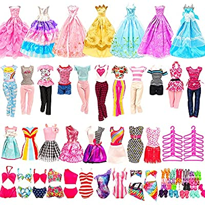 🎅WHAT CAN YOU GET - 36 Pack Doll Clothes = 5 Pcs fashion dresses + 5 pcs tops 5 pcs pants + 3 Pcs wedding gown dresses + 3 Sets bikini swimsuits + 10 hangers + 10 pair of shoes for 11.5 inch Girl Doll (Dolls not included, Random style) 🎅FOR DIFFERENT...