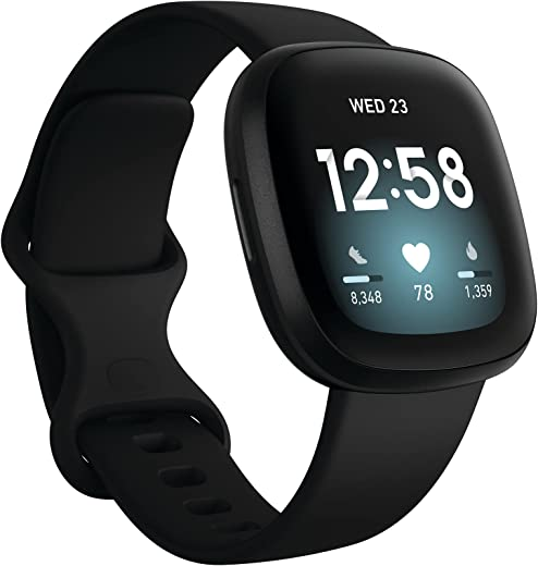 Fitbit Versa 3 Health & Fitness Smartwatch with GPS, Alexa Built-in, 24/7 Heart Rate, Alexa Built-in, 6+ Days Battery, Black/Black, One Size (S & L Bands Included)