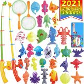 CozyBomB Magnetic Fishing Toys Game Set for Kids Water Table Bathtub kiddie Pool Party with Pole Rod Net, Plastic Floating Fish - Toddler Education Learning all Size Color Ocean Sea Animals 3 Year Old