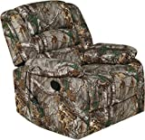 Relaxzen Massage Rocker Recliner with Heat and USB, Realtree Camo Microfiber