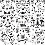 HOWAF Halloween Tatuajes Temporales de Cara,10 hojas Halloween Araña Tatuajes...