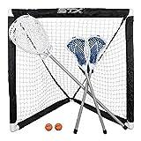 STX FiddleSTX Three Player Game Set with Two Field Player Sticks One Goalie Stick Mini Goal and Balls , White/Grey