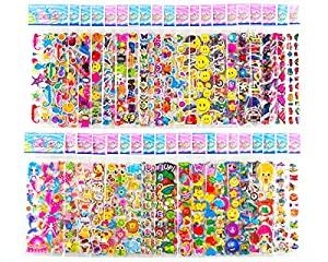 🌈LOT OF STICKERS: 40 Individual Puffy Stickers Sheets Moceya 3D Stickers 1200+ in Total. Vivid Colors & Designs, Including Hearts, Animals, Fish, Cars, Letters, Numbers, Fruit, Vegetables, Smiley Faces and Lots More! 🌈RESTICKABLE STICKERS FOR KIDS: T...