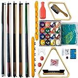 Maxstore Billard - Accessoires Set All in One -. Jeu Complet Comprenant 5 queues, Boules de Billard, Triangle et Divers Extras, Accessoires mis, Piscine, Billard