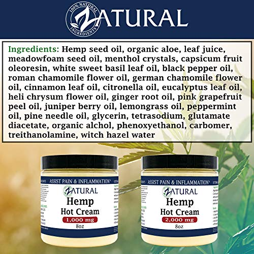 Hemp Hot Cream-Hemp Oil-Organic Hot Cream-Anti Cellulite-Muscle Cream-Pain Support (1,000mg) 2