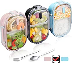 WORTHBUY Bento Lunch Box for Kids, 2 Compartments Stainless Steel Square Lunch Box with..