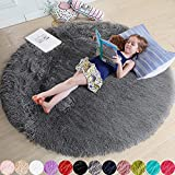 Gray Round Rug for Bedroom,Fluffy Circle Rug 4'X4' for Kids Room,Furry Carpet for Teen's Room,Shaggy Circular Rug for Nursery Room,Fuzzy Plush Rug for Dorm,Grey Carpet,Cute Room Decor for Baby