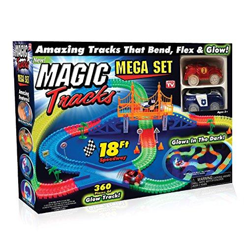 Ontel Magic Tracks Mega Set - 2 LED Race Cars and 18 ft. of Flexible,...