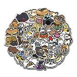 ZHXMD Lindo Gato de Dibujos Animados Emoticon Mano Cuenta decoración Pegatinas portátil teléfono móvil Equipaje Trolley Caso Pegatinas Impermeables 50 Hojas