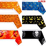 Boao 6 Pieces Halloween Table Cover Halloween Plastic Tablecloth Pumpkin Cobweb Spider Pattern Table Cover for Halloween Party Decoration Supplies
