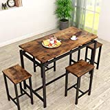 MIERES Dining Table Set for 4 - 5pcs Kitchen Counter with Bar Stools, Sturdy Metal Frame Home | Pub | Living Room | Breakfast Nook Furniture-34.7'H, Vintage Brown