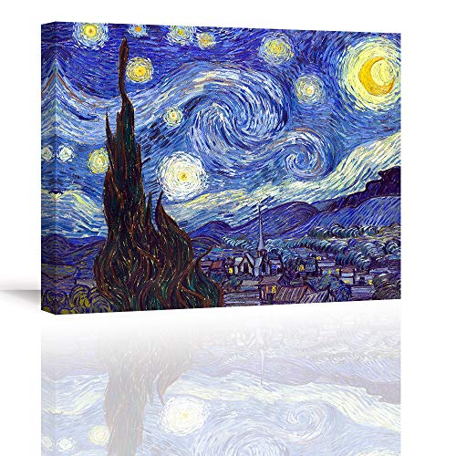 Piy Painting Stampe e Quadri su Tela Starry Night by Van Gogh Riproduzione di Famosi Dipinti ad Olio...